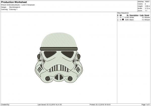 Stormtrooper Helmet Embroidery design