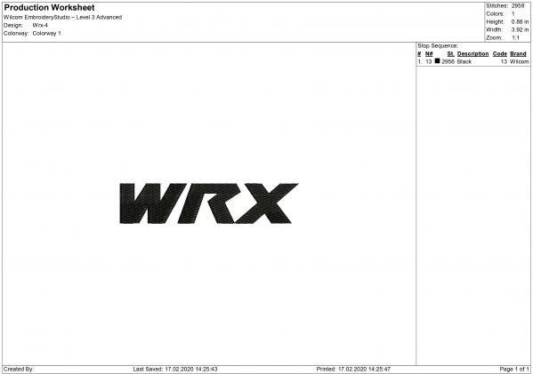 WRX logo Embroidery design