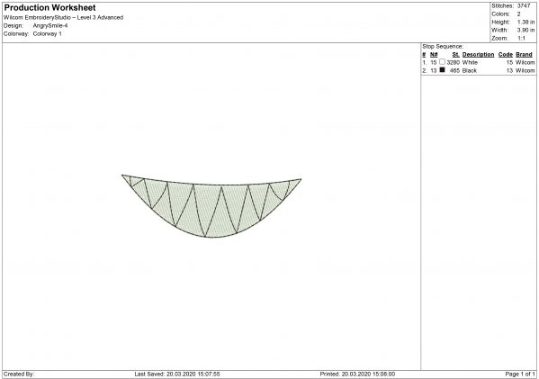 Angry Smiling Mouth for Mouth mask Embroidery design