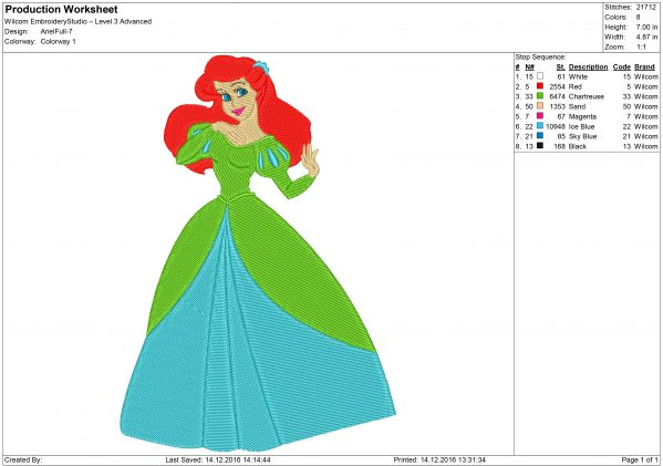 Princess Ariel Little Mermaid Embroidery design