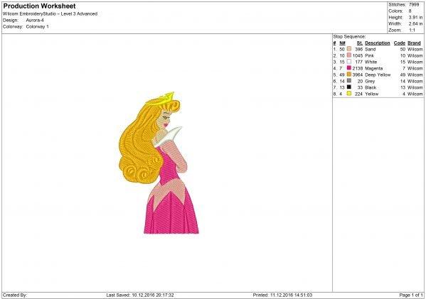 Princess Aurora Embroidery design