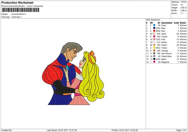 Prince and Princess Aurora Embroidery