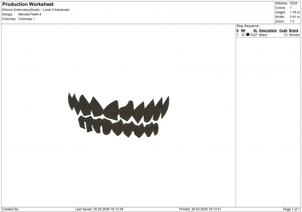 Zombie Teeth for Mouth mask Embroidery design