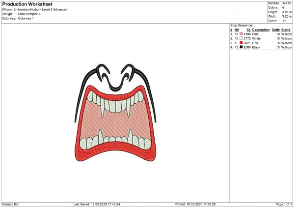 Vampire Mouth for face mask Embroidery design