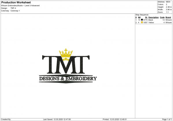 TMT logo Embroidery design