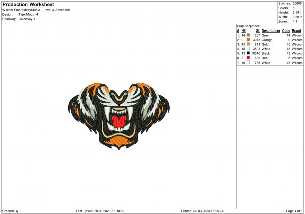 Tiger Mouth for Mouth mask Embroidery design