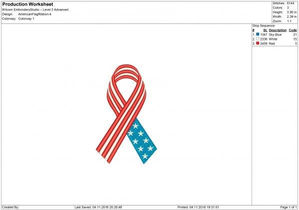 USA ribbon Embroidery design