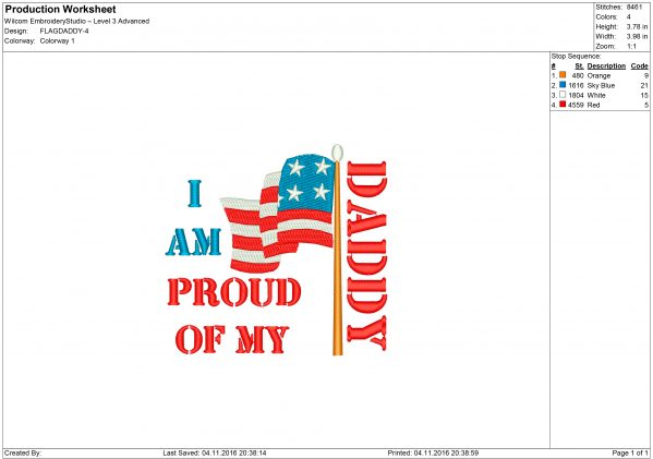 I Am Proud of My Daddy USA Flag Embroidery design