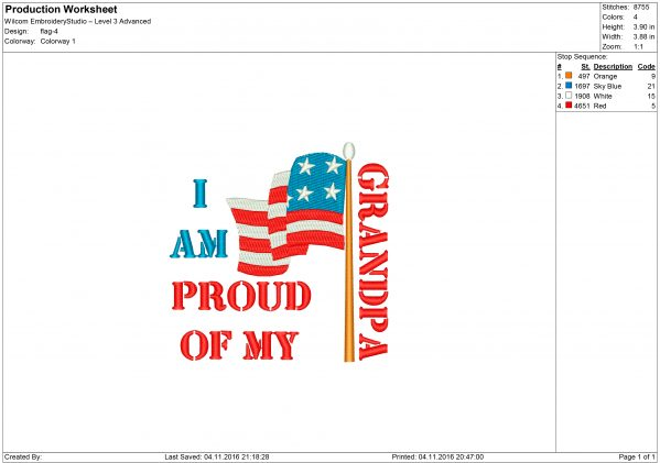 I Am Proud of My Grandpa USA Flag Embroidery design