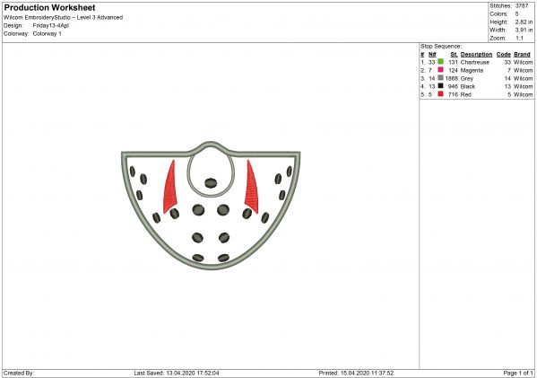 Jason Voorhees Mouth Mask Embroidery design
