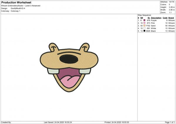 Goofy Mouth for Mouth mask Embroidery design