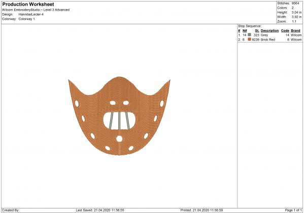 Hannibal Lecter Maniac Mouth mask Embroidery design