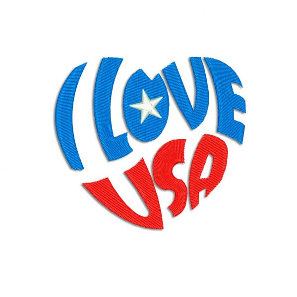 I Love USA Embroidery design
