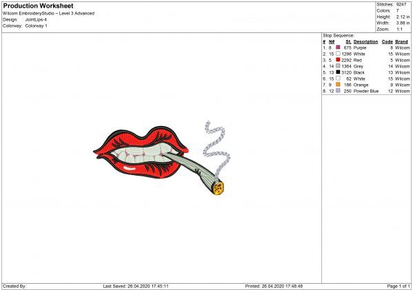 Mouth with Joint for Mouth mask Embroidery design