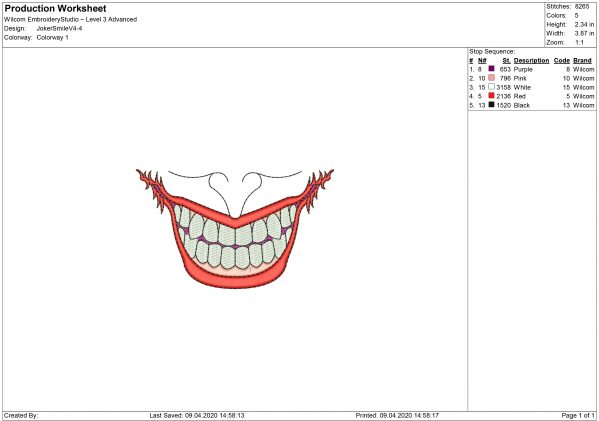 Joker Embroidery design