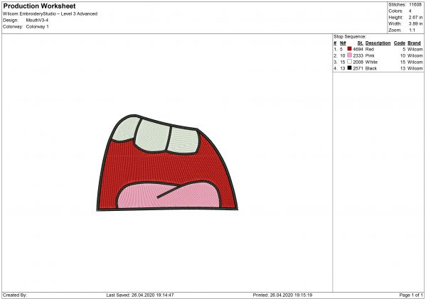 Mouth for Mouth mask Embroidery design