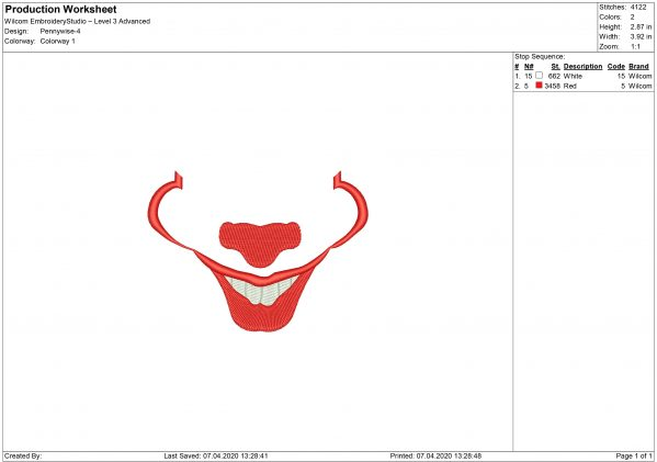 Pennywise Mouth for Mouth mask Embroidery design