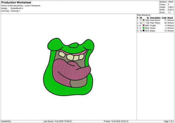 Ghostbusters Slimer Mouth Embroidery design