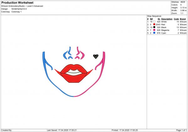 Harley Quinn Mouth for Mouth mask Embroidery design