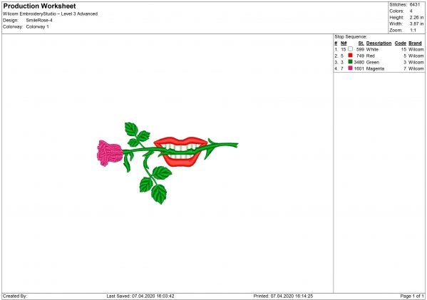 Mouth with Rose for Mouth mask Embroidery design