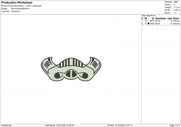 Stormtrooper Mouth Mask Embroidery design