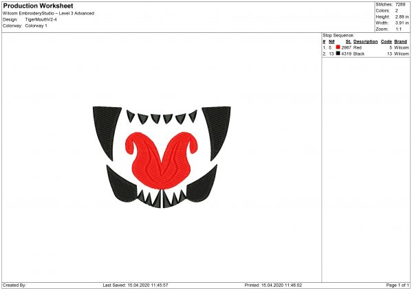 Fangs for Mouth mask Embroidery design