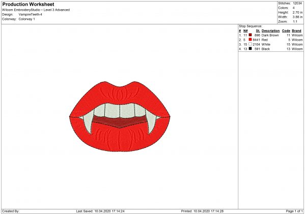 Vampire Mouth mask Embroidery design