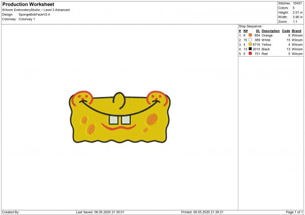 Spongebob Mouth for Mouth mask Embroidery design