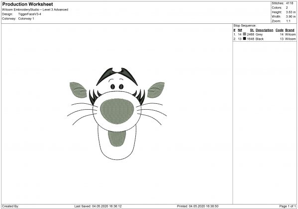 Winnie The Pooh, Tigger Face Embroidery design