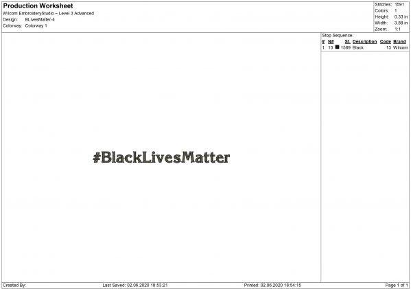 Black Lives Matter Embroidery design