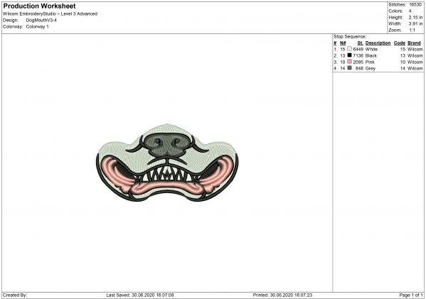 Dog Mouth for Mouth mask Embroidery design