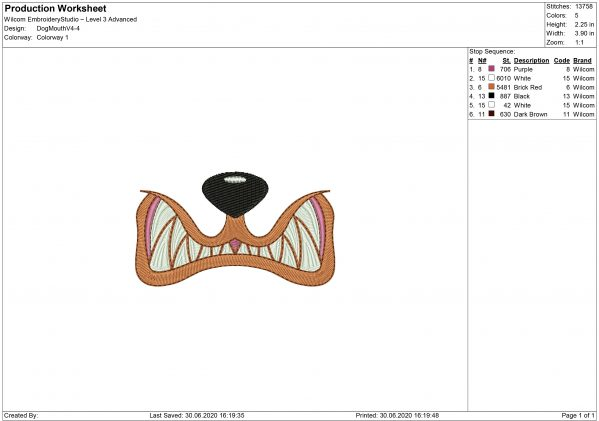 Dog Mouth Embroidery design