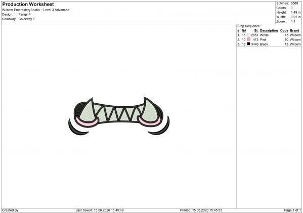 Mouth and Fangs for Mouth mask Embroidery design