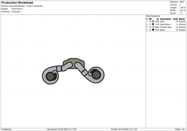 Twin-turbo for Mouth mask Embroidery design
