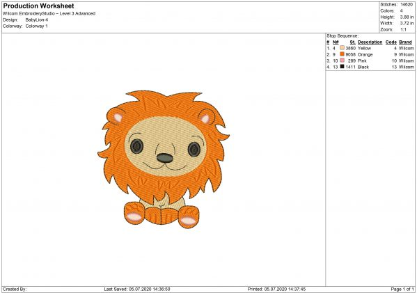 Baby Lion Embroidery design