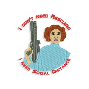 Princess Leia Social Distancing Embroidery design
