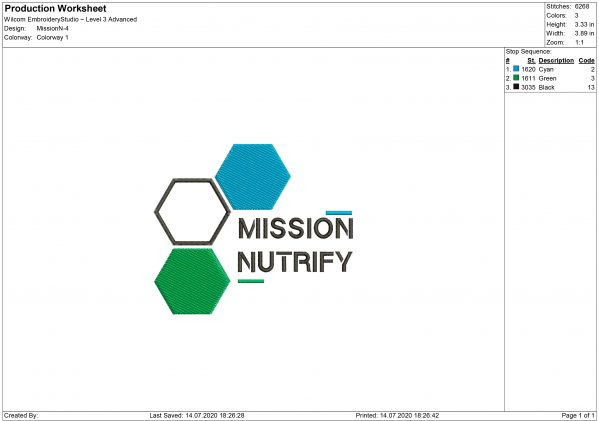 Mission Nutrify logo Embroidery design