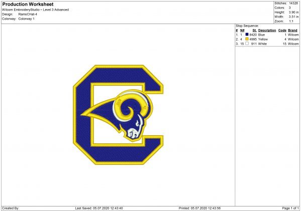 Los Angeles Rams embroidery design