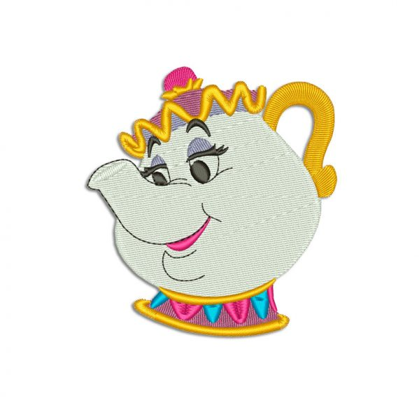 Beauty and the Beast Teapot embroidery design