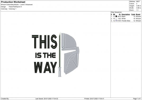 This is The Way Mandalorian Embroidery design