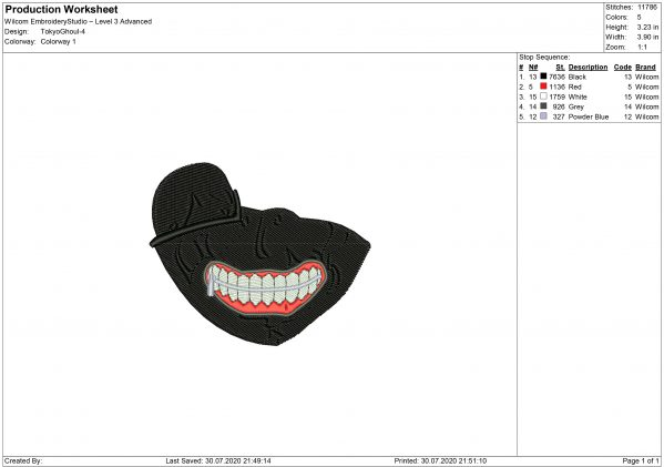 Tokyo Ghoul Mouth for Mouth mask Embroidery design files for Machine embroidery
