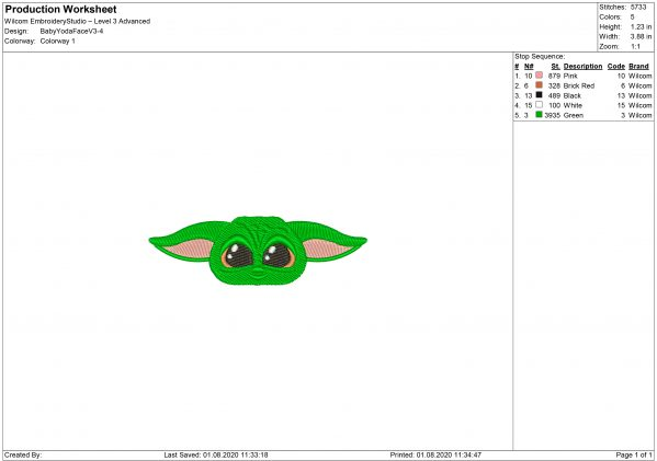 Baby Yoda Face Embroidery design