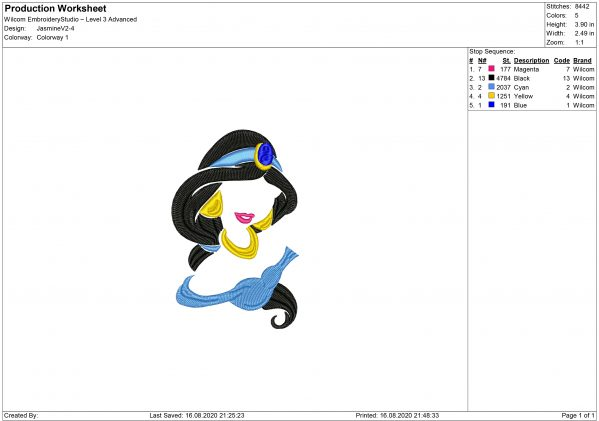 Princess Jasmine Embroidery design
