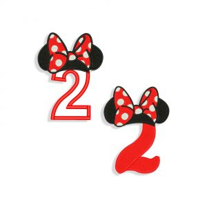 Number 2 Minnie Mouse Embroidery design