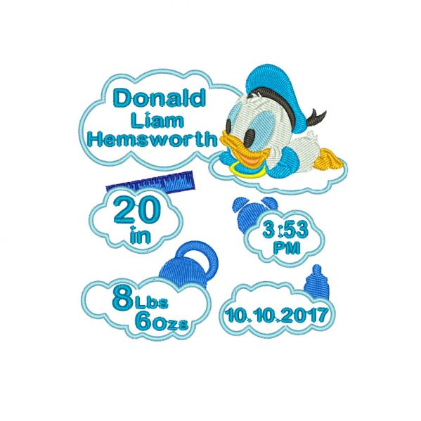 Baby Donald Duck Birth Announcement Embroidery design