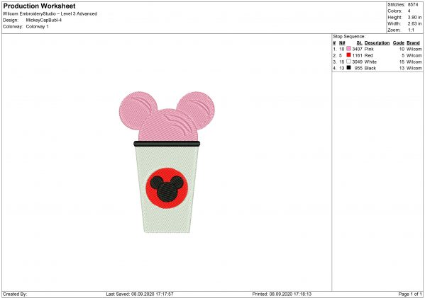 Mickey Mouse Cappuccino Embroidery design