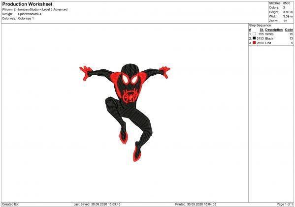 Spiderman Miles Morales Embroidery design