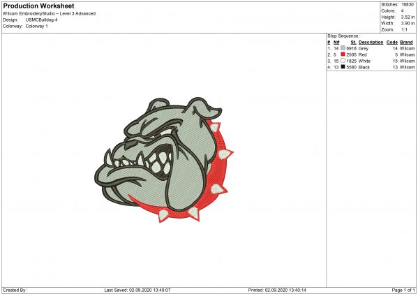 USMC Bulldog Embroidery design