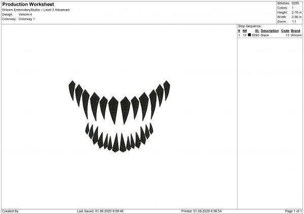 Venom Mouth for Mouth mask Embroidery design