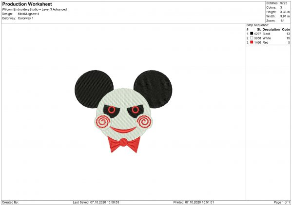 Mickey Mouse Jigsaw Embroidery design